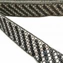 Galón étnico bordado - Lentejuelas - Negro y blanco - 35 mm