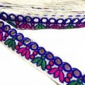 Galón étnico bordado - Hojas 2 colores - Borde espejos - 40 mm