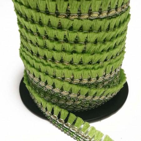 Cinta de flecos - Algodón verde claro y dorado - 15 mm