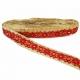 Bordado de algodón - rosetón y diamantes beige rojo y naranja - fondo beige - 30 mm - Babachic/Moodywood