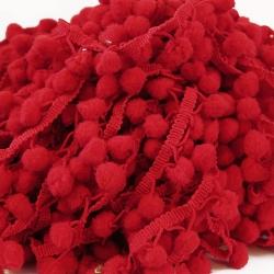 Galón Pompones - Rojo - 25 mm