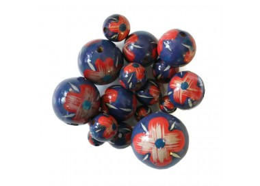 Cuentas de madera - Hibiscus - Azul y rojo