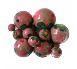 Cuentas de madera - Hibiscus - Rosa y marrón