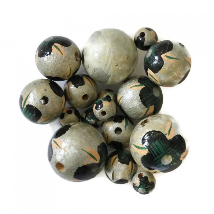 Cuentas de madera - Hibiscus - plateado, negro