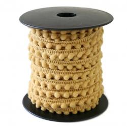 Gálon de mini pompones  - Camel - 10 mm