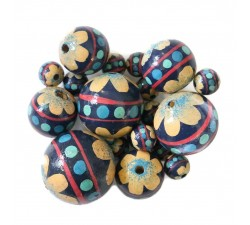 Wooden beads - Circus - blue and beige