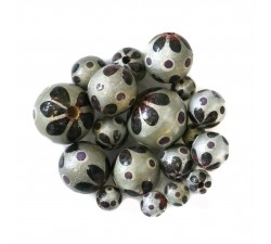 Wooden beads - Circus - silver and black