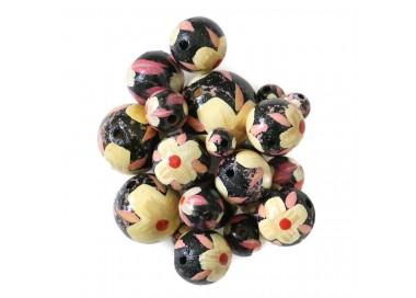 Cuentas de madera - Hibiscus - Negro, beige y rosa