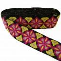Pasamaneria rosetón - Negro, rosa y amarillo - Babachic/Moodywood - 60 mm
