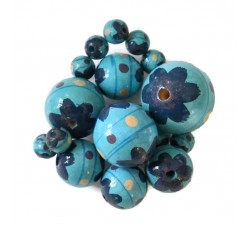 Wooden beads - Circus - blue