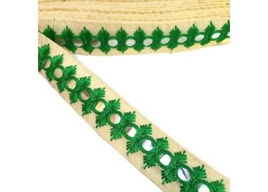 Cinta espejos bordada - Olmo - Verde - 30 mm