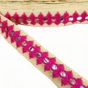 Cinta espejos bordada - Olmo - Rosa - 30 mm