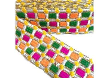 Pasamanería bordada - Mosaico - Rosa, verde, naranja, blanco y amarillo - 65 mm