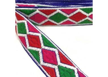 Bordado gráfico - Rombos - Rojo, rosa, verde y blanco - 45 mm