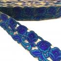 Tul bordado - Encaje de flores - Azul - 45 mm