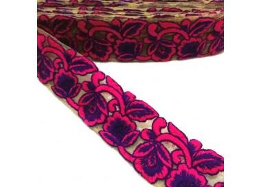Tul bordado - Encaje de flores - Rosa y morado - 45 mm