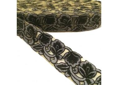 Tul bordado - Encaje de flores - Negro y gris - 45 mm