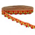 Bordado - Guirnalda de cereza - Rojo, verde y naranja - 35 mm