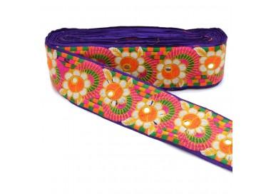 Pasamanería bordada - Flores y espejos - Multicolores - 70 mm