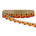 Bordado - Guirnalda de cereza - Rojo y verde - 35 mm