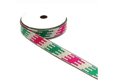Cinta gráfica - Puzzle - Verde, blanco y rosa - 20 mm