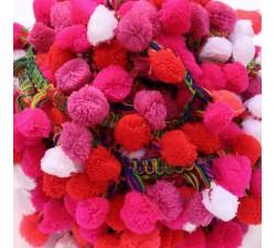 Galón Pompones XL - Rosa, rojo y blanco - Babachic/Moodywood - 45 mm