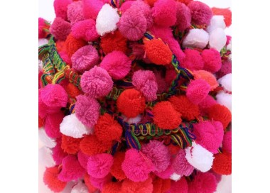 Galón Pompones XL - Rosa, rojo y blanco - 45 mm