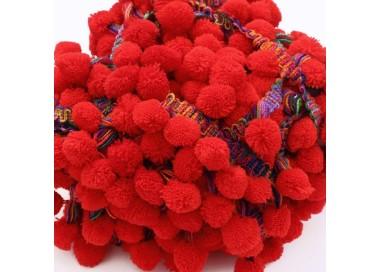 Galón Pompones XL - Rojo - 45 mm