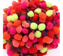 Galón Pompones XL - Rojo, rosa, naranja y amarillo - Babachic/Moodywood - 45 mm