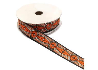 Cinta gráfica - Azteca - Naranja, negro y plateado - 20 mm