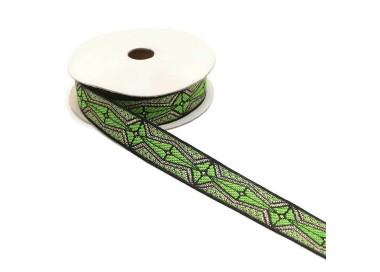 Cinta gráfica - Azteca - Verde claro, negro y plateado - 20 mm