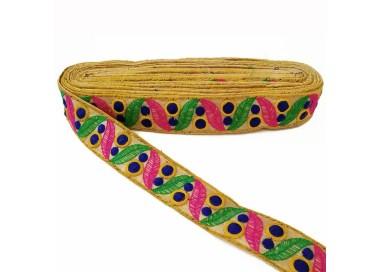 Cinta bordada de hojas y pequeños círculos rellenos - Verde, rosa y azul marino - 35 mm