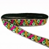 Cinta bordada de hojas amarilla y fucsia con pequeños círculos verde fondo negro - 35 mm - Babachic/Moodywood