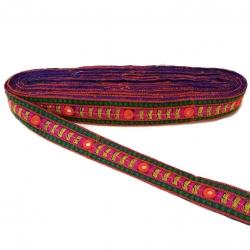 Galón etnico bordado Babachic/Moodywood - Multicolores - Decorado con espejitos - 30 mm