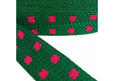 Bordado gráfico - Cuadrado - Verde y rosa - 65 mm