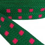 Bordado gráfico - Cuadrado - Verde y rosa - Babachic/Moodywood - 65 mm