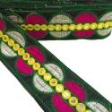 Bordado gráfico - Galactica - Verde, rosa, blanco y amarillo - 65 mm