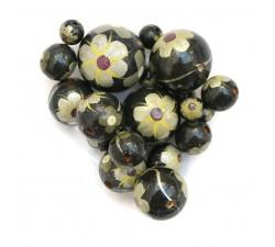 Cuentas de madera - Hibiscus - Negro, amarillo y plateado