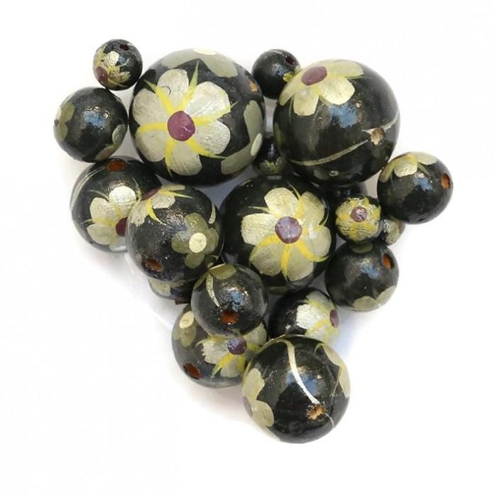 Cuentas de madera - Hibiscus - Negro, amarillo y plateado Babachic/Moodywood