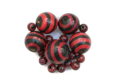 Cuentas de madera - Rayas - Negro y rojo