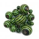 Cuentas de madera - Rayas - Negro y verde babachic/moodywood