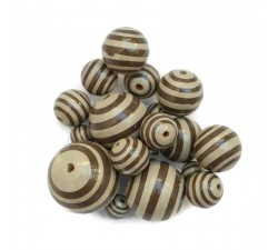 Cuentas de madera - Rayas - Beige y marrón Babachic/moodywood