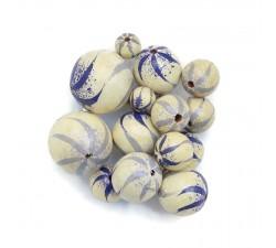 Cuentas de madera - Cebra - Blanco, lila y azul Babachic/Moodywood