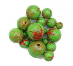 Cuentas de madera - Cebra - Verde y rojo Babachic/Moodywood