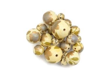 Cuentas de madera - Peltée - Kaki y dorado