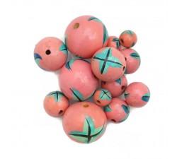 Cuentas de madera - Starfish - Rosa y azul