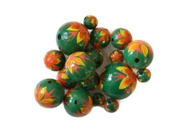 Cuentas de madera - Llama - Verde, amarillo y naranja