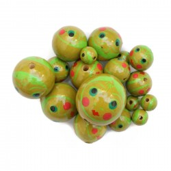 Pink doll face wooden beads babachic