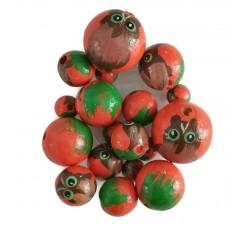 Cuentas de madera - Buho - Naranja y verde  Babachic/Moodywood