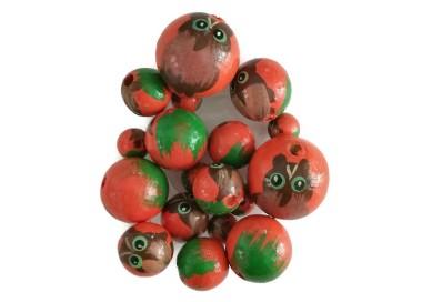 Cuentas de madera - Buho - Naranja y verde
